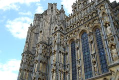 Wells cathedral. Facade of Wells Cathedral with black marble columns Stock Photos