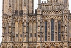 Wells Cathedral facade detail Somerset South West England UK. West front detail of anglican Wells Cathedral Cathedral Church of Saint Andrew, Somerset, South royalty free stock images
