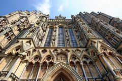 Wells, The Cathedral Front. The front elevation of Wells Cathedral. One of the most beautiful cathedrals in England Royalty Free Stock Photography
