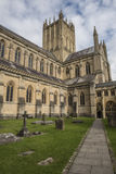Wells Cathedral. Outside exterior view of the Wells Cathedral with a cement pathway Royalty Free Stock Images