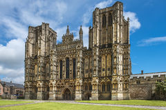 Wells Cathedral, Somerset, England. Wells Cathedral (Cathedral Church of Saint Andrew), Wells Abbey on sunny day, Somerset, England Stock Images