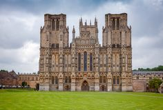Wells Cathedral Somerset South West England UK. West front of anglican Wells Cathedral Cathedral Church of Saint Andrew, Somerset, South West England, UK stock photography