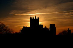 Wells Cathedral Sunset. View of Wells Cathedral at sunset from In-B-Tween Cottage, Lorne Place, Somerset stock photography
