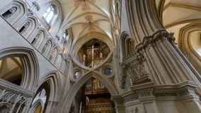 Interior of Wells Cathedral - mid view over Scissor Arches stock photography