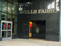 Wells Fargo ATM, Main Street Columbia, South Carolina.  royalty free stock images