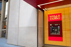 Wells Fargo ATM. San Francisco, California, United States - September 26, 2016: Wells Fargo ATM at headquarters of Wells Fargo Capital Finance, the commercial stock images