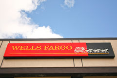 Wells Fargo Bank sign and building Stock Photos