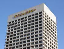 Wells Fargo Bank skyscraper in sky Royalty Free Stock Photography
