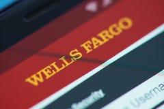 Wells Fargo deponuje pieniądze moblie app menu Obraz Royalty Free