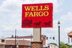 Monticello - Circa June 2018: Wells Fargo Signage and Logo. Wells Fargo is selling all its branches in three Midwestern states II Stock Photo