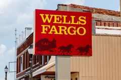 Monticello - Circa June 2018: Wells Fargo Signage and Logo. Wells Fargo is selling all its branches in three Midwestern states IV Stock Images