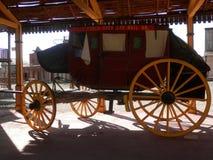 Wells Fargo Stagecoach. Close-up of replica of Wells Fargo Stagecoach in Fort Bravo Film set in Tabernas desert, Almeria, Spain Stock Images
