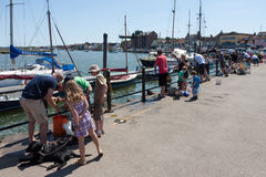 WELLS, NORFOLK/UK - JUNE 3 : Parents showing children how to cat stock photos