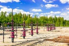 Wells que extrae el aceite del campo en Siberia Fotografía de archivo libre de regalías