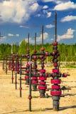Wells que extrae el aceite del campo en Siberia Imagen de archivo libre de regalías