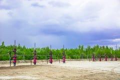 Wells qui extraient l'huile à partir du champ en Sibérie Images stock