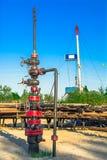Wells qui extraient l'huile à partir du champ en Sibérie Images libres de droits