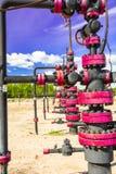 Wells qui extraient l'huile à partir du champ en Sibérie Photographie stock libre de droits