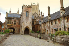 Wells, Somerset, England. The old cathedral neighborhood, Wells, county of Somerset, England, Great Britain stock photo