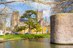 Wells Somerset England UK. Moat of the Bishops Palace and Wells Cathedral Somerset England UK Europe Royalty Free Stock Images