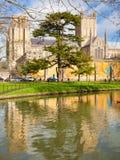 Wells Somerset England UK. Moat of the Bishops Palace and Wells Cathedral Somerset England UK Europe stock photos