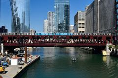 Wells Street Bridge. This is a Summer picture of the Wells Street Bridge over the Chicago River located in Chicago, Illinois. The bridge was designed by E. H stock images