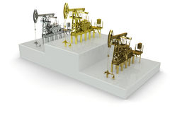 Wells - winners of the biggest oil production. 3d rendering Stock Photo