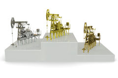 Wells - winners of the biggest oil production. 3d rendering Royalty Free Stock Images