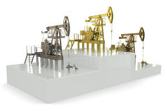 Wells - winners of the biggest oil production. 3d rendering Stock Photos