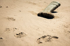 Welly on beach. Abondoned wellington boot on beach Royalty Free Stock Image