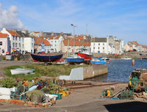 Welly Boot Garden and harbour, St Monans, Fife Stock Photography