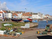 Welly Boot Garden y puerto, St Monans, Fife fotografía de archivo