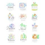 Welness,禅宗,瑜伽,草本中心,健康食物,自然生命商标模板设置了手拉的水彩传染媒介 皇族释放例证