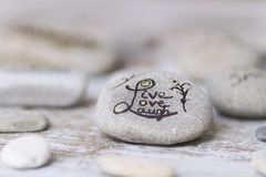 Welness concepts on stones. Stones with some words writen on them stock photo