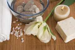 Welness products. Spa. welness products - bar of soap, towel, water, stones, candles and flower royalty free stock images
