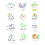 Welness, zen, yoga, kruidencentrum, gezond voedsel, natuurlijke de malplaatjesreeks van het het levensembleem van hand getrokken  royalty-vrije illustratie