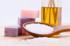 Welnness spa objects soap and bath salt closeup. Aromatherapy beauty Royalty Free Stock Photography