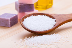 Welnness spa objects soap and bath salt closeup Royalty Free Stock Photography