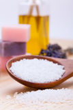 Welnness spa objects soap and bath salt closeup. Aromatherapy beauty Stock Photo