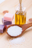 Welnness spa objects soap and bath salt closeup. Aromatherapy beauty Stock Photography