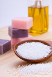 Welnness spa objects soap and bath salt closeup. Aromatherapy beauty Stock Image