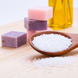 Welnness spa objects soap and bath salt closeup. Aromatherapy beauty Stock Photos