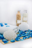 Welnness (spa) set. Balsams and towel with seashell and petal - perfect welnness set Royalty Free Stock Images