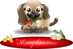 Welpe der frohen Weihnachten Lizenzfreie Stockbilder