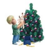 Welpe in einem Weihnachtsgeschenk Stockfotos