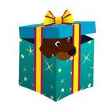 Welpe in einer Geschenkbox Stock Abbildung