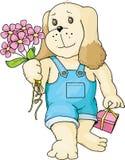 Welpe mit einem Blumenstrauß Lizenzfreie Stockfotos