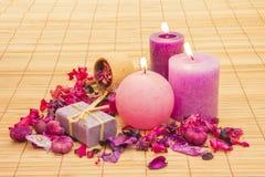 Welriekend mengsel van gedroogde bloemen en kruiden met Kaarsen Stock Afbeeldingen