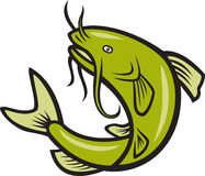 Wels-Fisch-springende Karikatur lizenzfreie abbildung