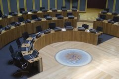 Welsh Assembly Government debating chamber Stock Images